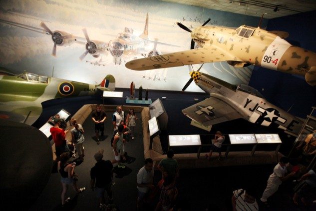 The Air and Space Museum's World War II Aviation gallery features such classic piston-driven fighters as the Spitfire, the P-51D and the Macchi Folgore.
