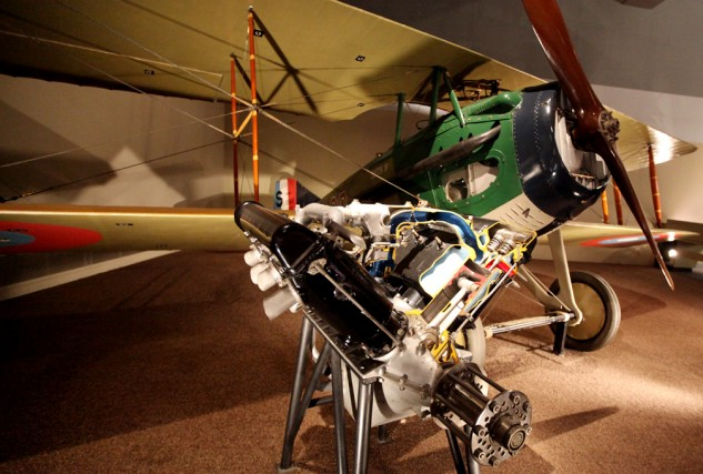 Overhead cams in 1914? The Hispano-Suiza 8A (E) liquid cooled V-8. The engine powered many World War I Allied fighters, like the SPAD XIII shown in the background.