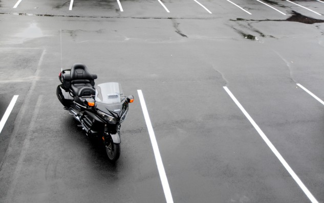 The 2014 Honda GL1800 Gold Wing painted in special edition parking lot camouflage.