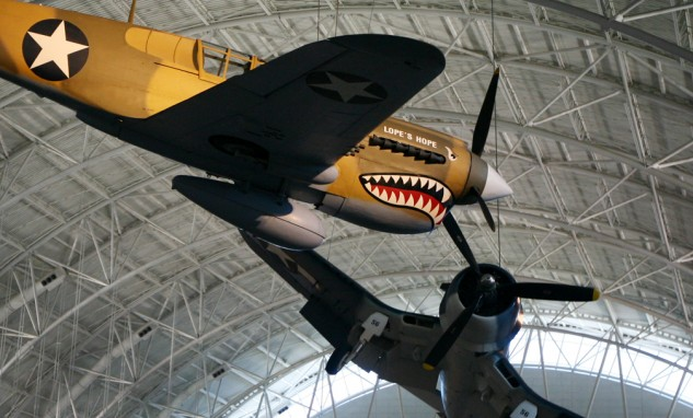 Was this the face that launched a thousand motorcycle paint job and helmet designs? The Curtiss P-40E in American Volunteer Group Flying Tigers colors.