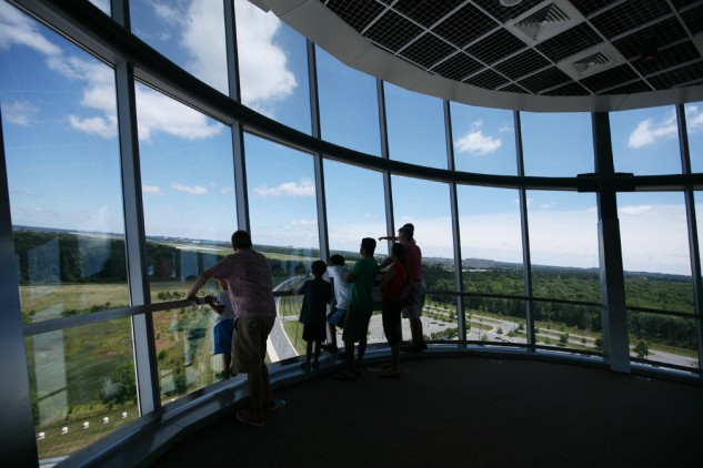 From the top of the Udvar-Hazy Center's 164 foot observation one can see the runways of Dulles International Airport and the Blue Ridge Mountains of western Virginia.