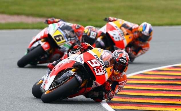 It didn't take long before Marc Marquez and Dani Pedrosa caught up with Stefan Bradl.