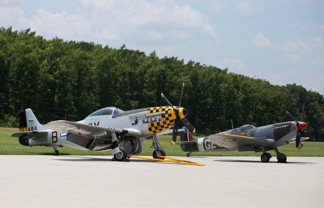 Two of the top fighters of WWII, the P-51D and Spitfire Mk IXE are on display at the Military Aviation Museum in Virginia Beach.