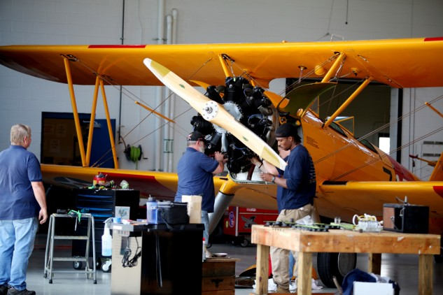 The staff of the Military Aviation Museum includes mechanics who keep the collection, like this Stearman N2S-3, in flying shape.
