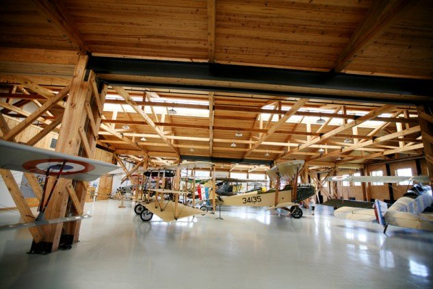 The Military Aviation Museum's collection of WWI aircraft is housed in a reproduction of a WWI French hangar.