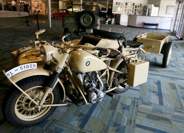 Where there are airplanes there are motorcycles. This BMW R75, painted in Afrika Korps colors, is in the Military Aviation Museum's collection.