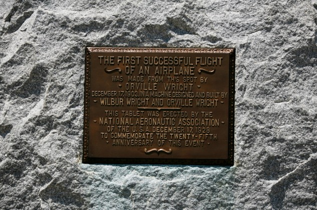 This plaque marks the spot that the Wright flyer lifted off the ground for the world's first powered, heavier than air flight.