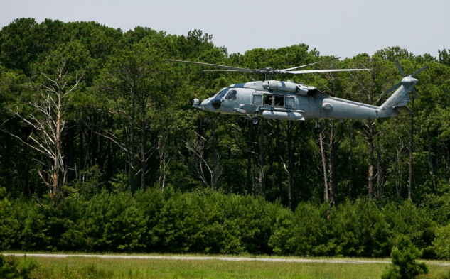 Flying has made stellar progress in the century since the Wright brother's first flight. This Navy SH-60 Seahawk hovered near the spot where the first flight took place.