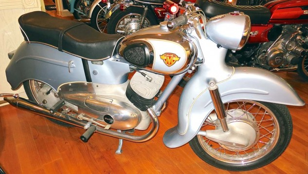 Known mostly for enduro and motocross bikes, Maico's 1957 Typhoon was a road model with art deco streamlining.