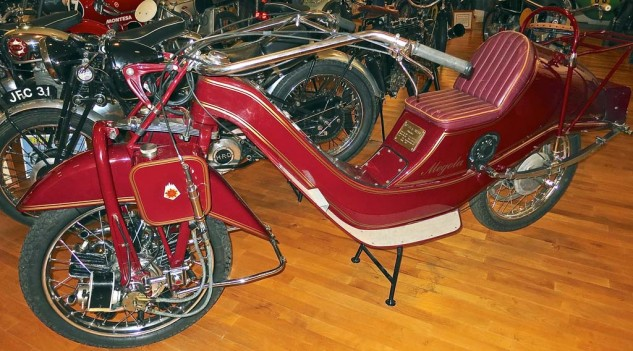 Now for something completely different, the German Megola of 1922 had a 640cc 5-cylinder rotary engine in the front wheel.