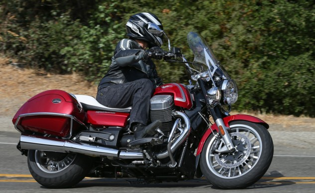 With a meaty, flat torque curve, the California 1400 Touring allows for several gear choices in corners.