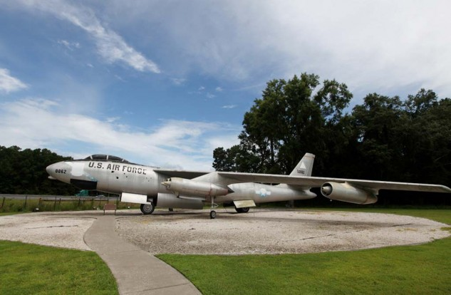 This Cold War-era Boeing B-47 Stratojet on display on the grounds of the National Museum of the Mighty Eighth Air Force Museum is visible from Interstate 95 near Savannah, Ga.