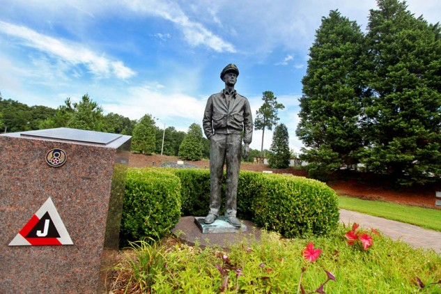 The grounds of the Mighty Eighth Air Force Museum feature memorials to many flyers, including Captain Ben Love, who survived 25 combat missions and went on to help found the museum.
