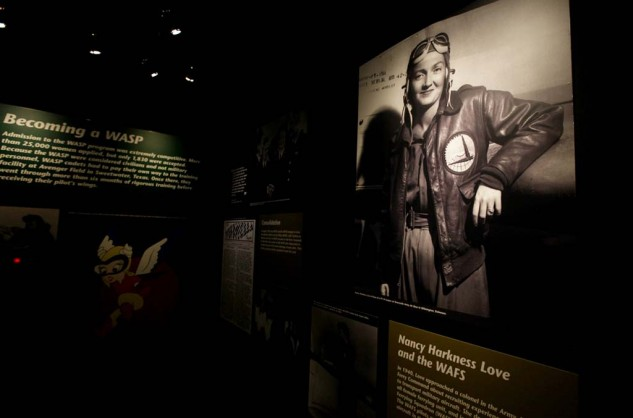 The Fly Girls exhibit honors early women aviators, including the 40,000 who served in the Army Air Corp during World War II. More than 1,000 served as Women Air Service Pilots (WASPs).