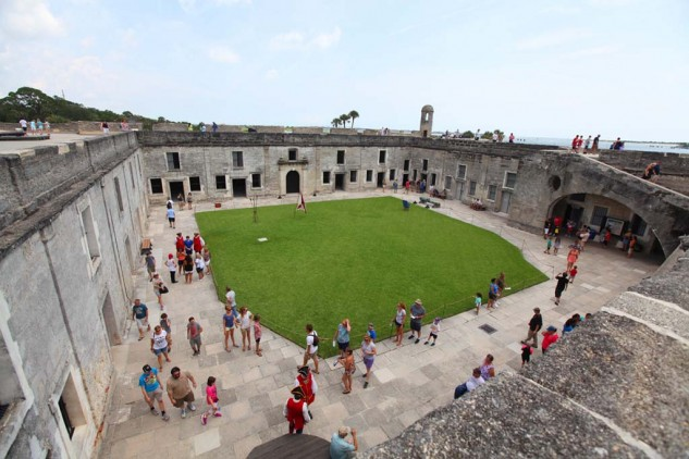 Built of native coquina limestone the Castillo de San Marcos is the oldest masonry fort in the United States. It was in active use until 1900.
