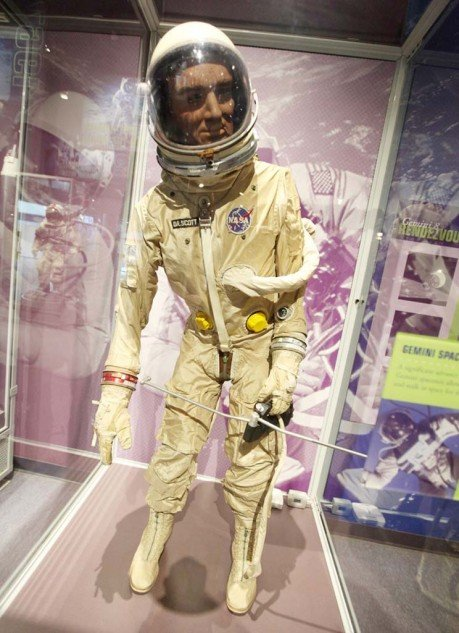 Examples of the early space suits on display at the Kennedy Space Center.