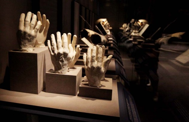 Some of the artifacts on display at the Kennedy Space Center include these plaster casts of the original astronaut's hands, used to custom size their space suits.