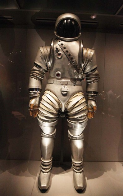 Not something out of a science fiction movie, this is one of the original prototype space suits developed by NASA.
