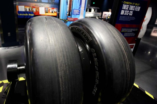 The tires used to land the space shuttle. Built by Michelin they are inflated to 340 psi to handle a 250 mph landing of a 220,00 lb. shuttle. The tires are only used once.