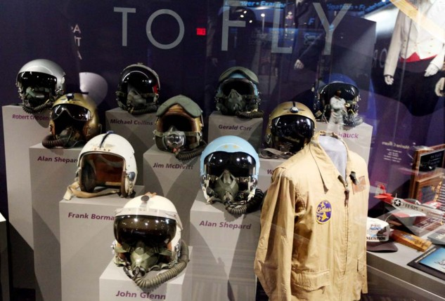 A collection of flight helmets from the early astronauts on display at the United States Astronaut Hall of Fame, just down the road from the Kennedy Space Center. All were military fighter pilots before joining NASA.