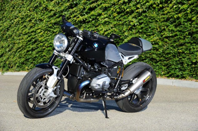 This is racer Nate Kearn's vision of nineT customization, with BST carbon-fiber wheels, Ohlins suspension and titanium Akropovic exhaust. Also note the absence of pillion accommodations and BMW's aluminum-skinned accessory seat hump.