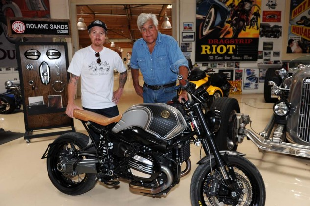 We're not the only ones who believe the nineT is cool. Famed bike customizer Roland Sands built the example seen here being handed over to gearhead icon (and apparently some sort of entertainer) Jay Leno. Note the handsome valve cover design Sands created for the nineT and is offering from his RSD catalog. Stenegard has dibs on the first pair.