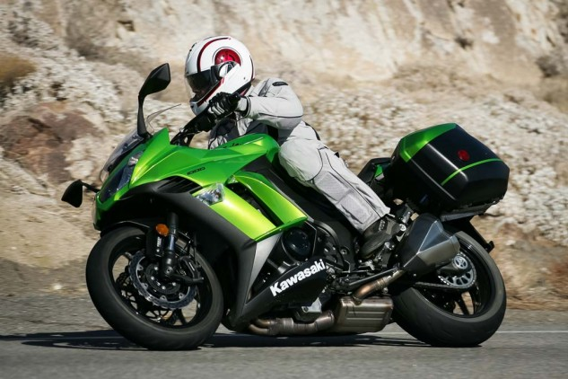 How did the Kawi get into a brawl with two sport-adventure-tourers? Our shootout requirements demanded hard luggage and chain drive. Honda's new Interceptor was meant to be included to help balance the equation of traditional sport-touring vs sport-adventure-touring, but an example with bags was unavailable at the time of testing.