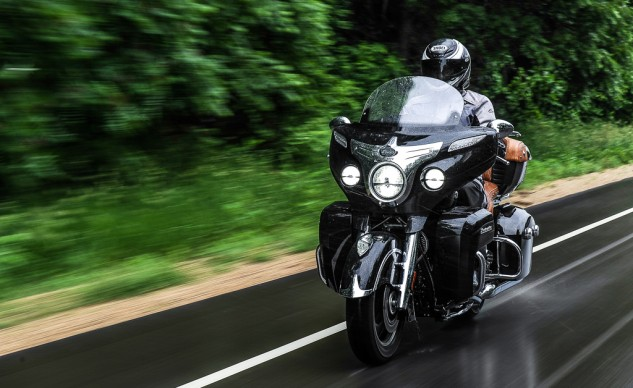The Roadmaster's weather protection keeps a rider mostly dry in rain riding. The bright, white of the LED headlight and fog lamps stand out in daylight riding.