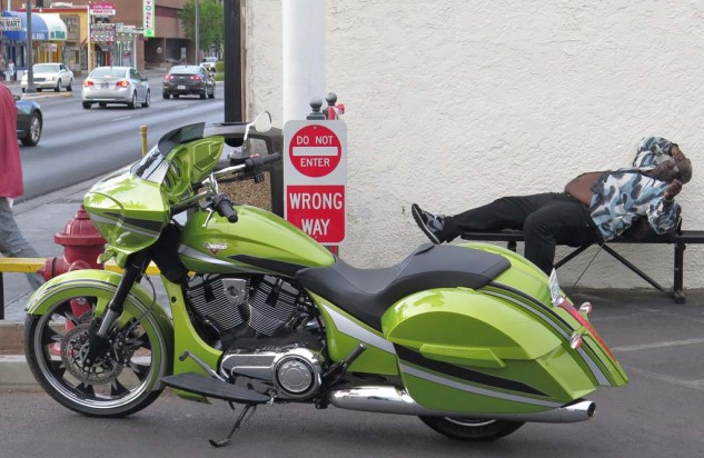 Some swooned at the bike in Plasma Lime. Note the color-matched saddlebag hinges and radiator cowling.