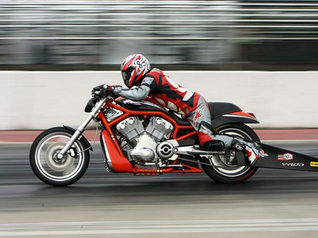 A wheelie bar and a 9-inch-wide slick allowed Harley's Destroyer to fire off the line like a bottle rocket!