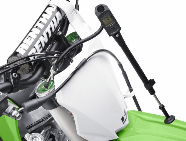 Kawasaki offers this nice 0-300psi Digital Air Pump to maintain the fork pressures with every KX450F at the point of purchase — not all air fork-equipped motocross bike manufacturers do this.
