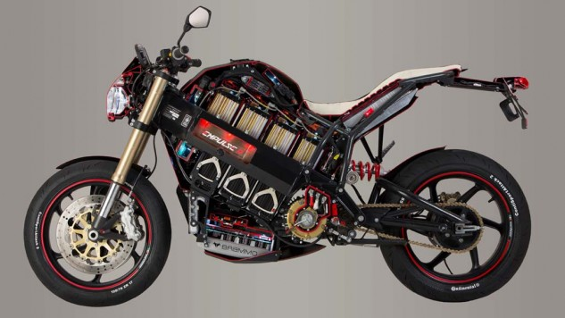 This cutaway model of the Brammo Empulse R reveals several key features. Eyes are naturally drawn to the batteries in the center of the bike, but look down and you'll find the heat exchanger and the liquid-cooled motor behind the battery pack.