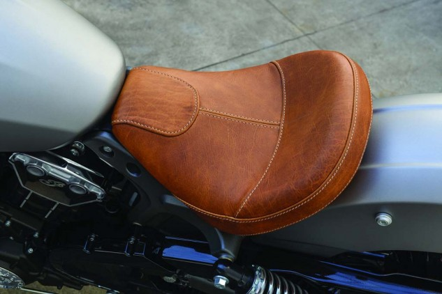 The Scout's leather seat is firm but very comfortable.