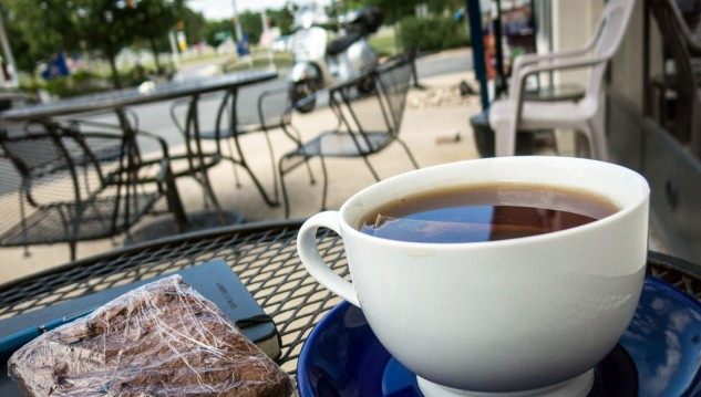 One of countless stops at coffee shops and cafes; a chance to absorb sugar, caffeine and reflect on life. Riders passing through Boalsburg, Pennsylvania can locate nutritional fuel at the Pump Station.
