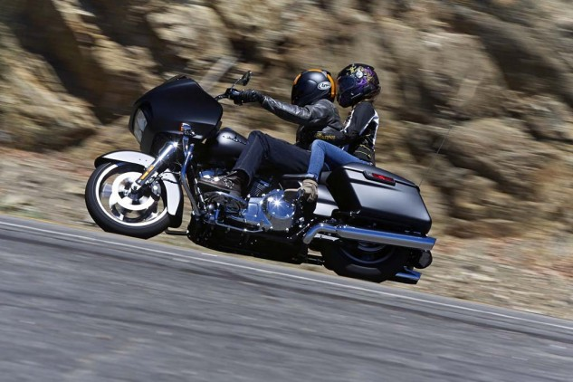 The Road Glide is comfortable two-up for short periods. As is, the passenger seat, which, while well-padded, is narrow and has downward slope. My co-tester-by-marriage, Maria, kept having to riggle forward lest she be sliding down the rear fender.