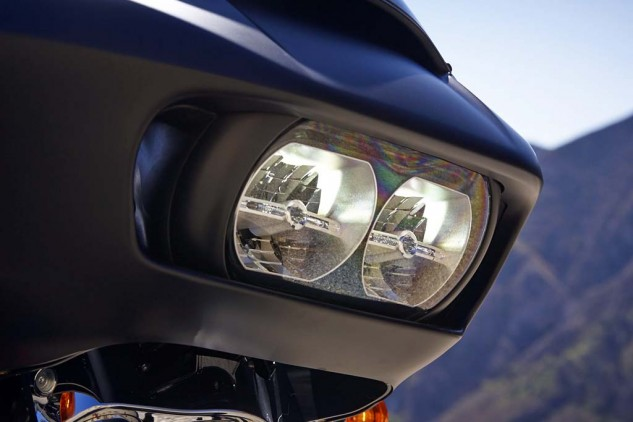 Ser Samsquamsh, in the comments section of the Road Glide Preview, says the Road Glide's new headlights resemble Bender, from Futurama. Regardless their looks, they light up the night. According to Harley: 85% more spread and 6% more punch on low beam, 35% more spread and 45% more punch on high beam.