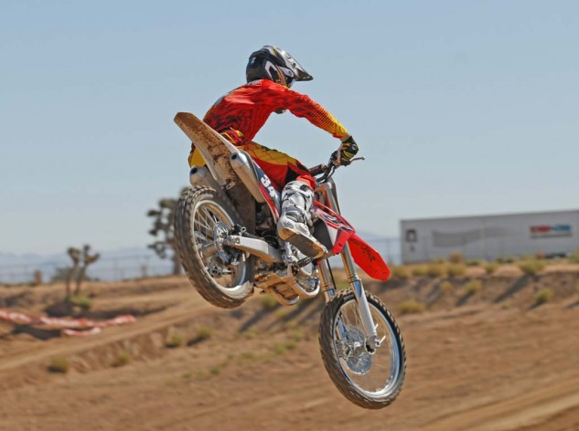 A new Showa 49mm SFF-Air fork gives the CRF250R more adjustability up front than ever. Not only that, but its on-track performance began to make believers out of some of us who are skeptical of the benefit of air springs.