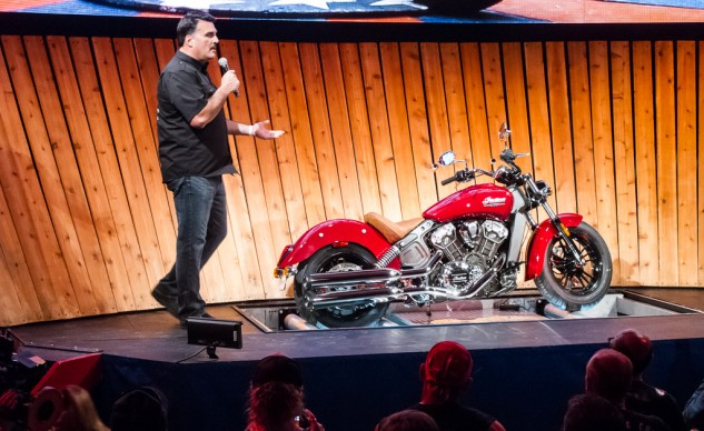 Vice President of Indian Motorcycle, Steve Menneto, tells an eager crowd about the Scout.