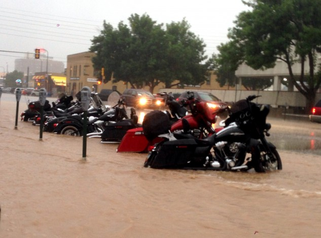 While thunderstorms rolling through Sturgis in the afternoons isn't uncommon, the rains on Tuesday were so intense that they canceled the racing events. Photo by Kyle Klack.