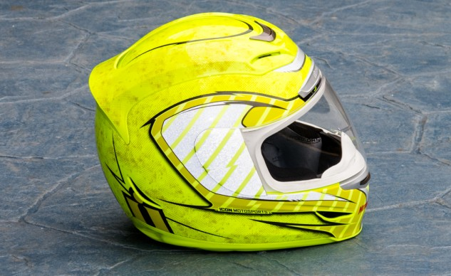 Attention getting day or night: The Hi-Viz color stands out, and the reflective graphics on the front, sides and rear pop in headlights.