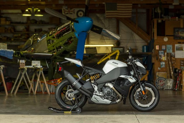Unlike the P-51 Mustang in the background, the EBR 1190SX is a fighter of a different kind.