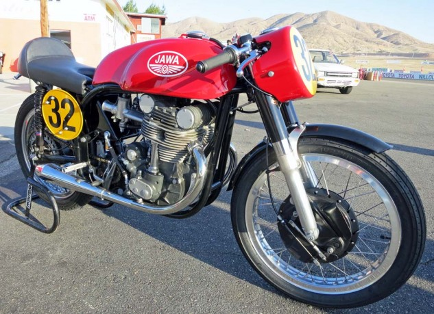 1960 Jawa DOHC 500cc Twin. The 350cc version came second and third in the 1961 world championship, behind the MV Four.