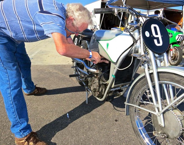 The supercharged 1938 DKW 350 requires numerous plug checks. The fifth cylinder, on the bottom, acts as the pressure pump.