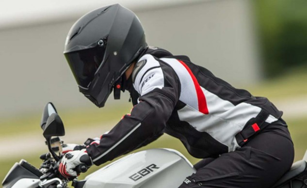Dainese's Super Speed textile jacket was built for sporty riding like this.