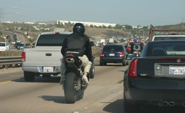 Motorcycle lane splitting is legal in california