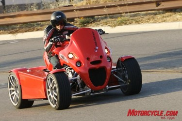 Part motorcycle, part car and part snowmobile, the Quadster gets through corners in a style all its own.