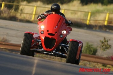 With nearly 170 horses pushing fat rear tires, the GG Quadster gets up and boogies.