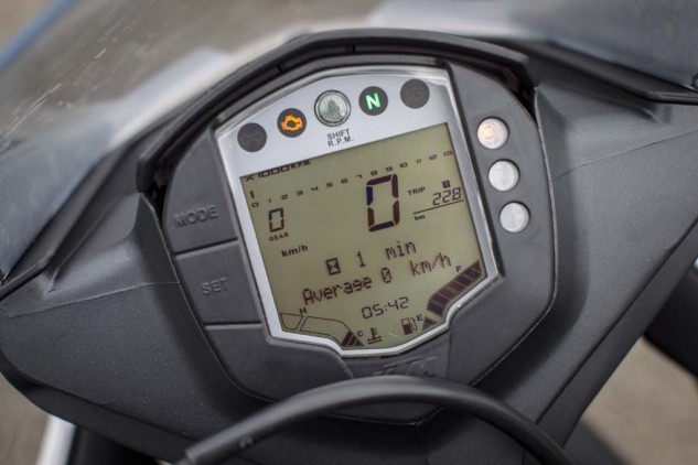 Kudos to KTM for a lot of info in its digital gauges, but the tach (at the top) is too small to be useful.