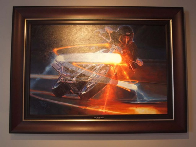 """Riding the Comet's Tail"" oil painting by Tom Fritz captures a V-Rod blasting through the twisties at night."