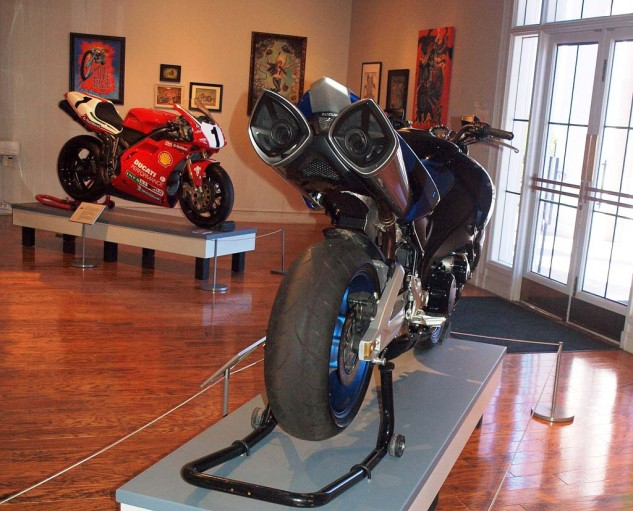 """Transformer"" movie bike shares exhibit space with Ducati SuperBike."